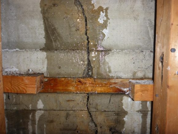 Water infiltration through the crack in the foundation wall