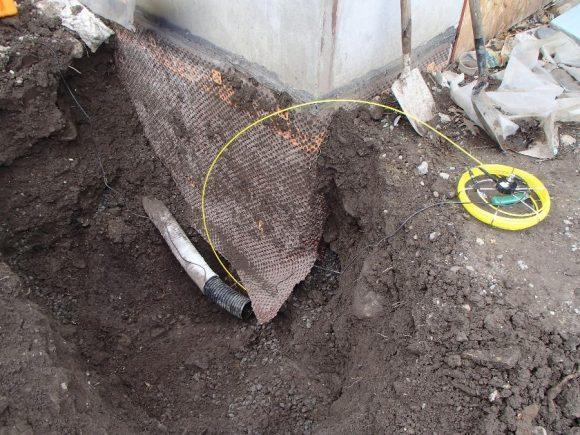 Foundation drainage, French drain